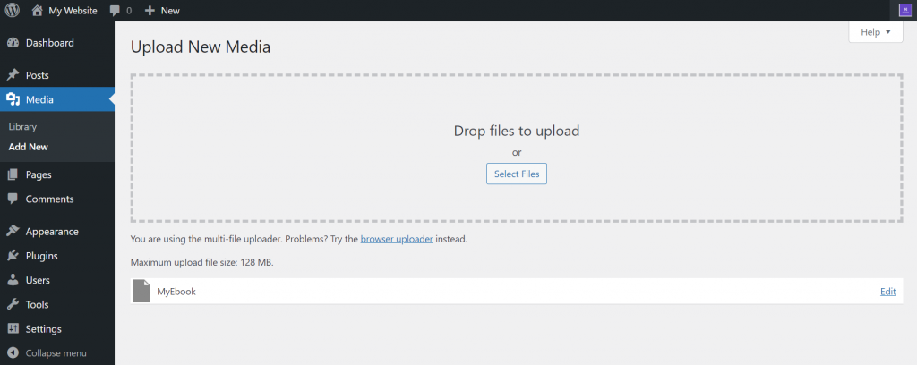 Screenshot of WordPress dashboard showing that the media file was uploaded successfully.