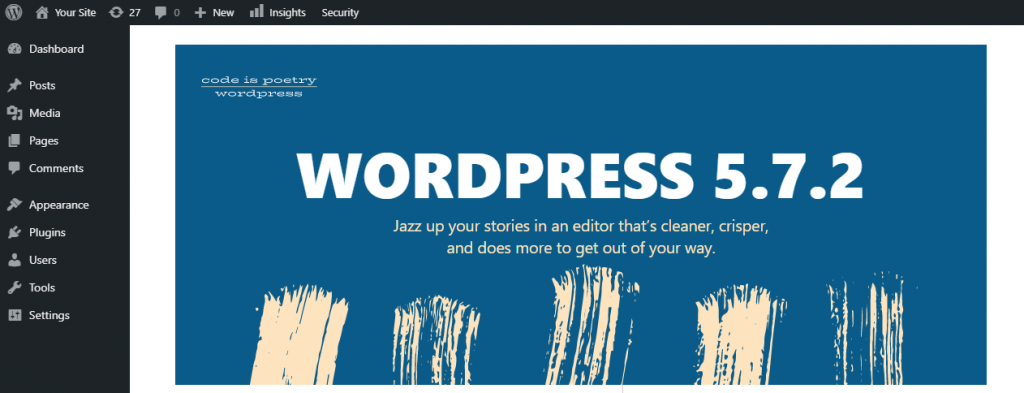 About WordPress screen showing its current version.