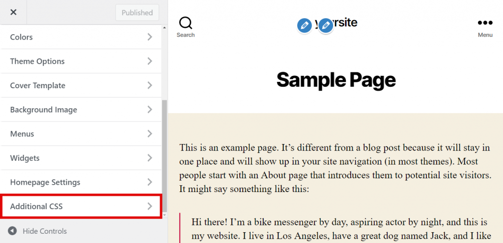 Additional CSS section in the editor panel.