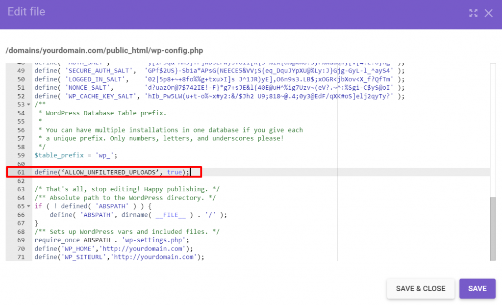 Screenshot of wp-config.php file showing where to paste the code.