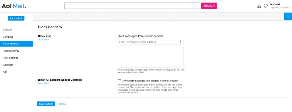 Block List options on AOL.