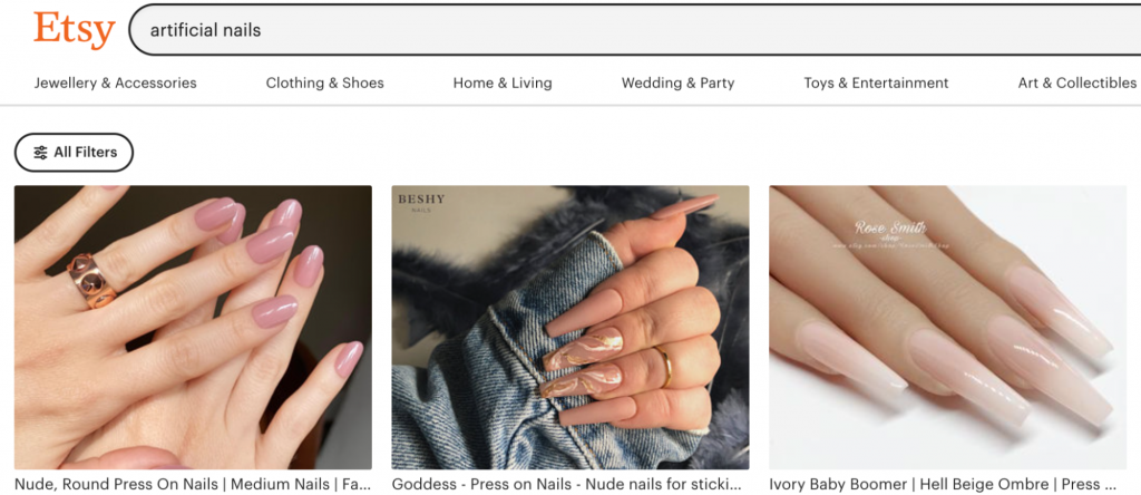 Screenshot from Etsy website showing examples of artificial nails.
