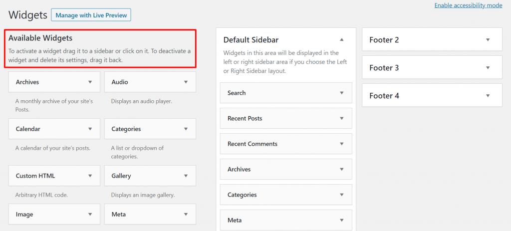 Widgets menu in WordPress dashboard