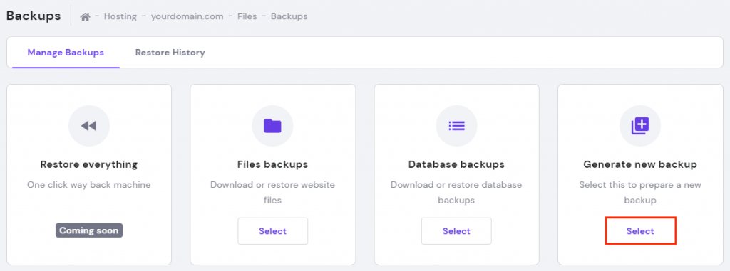 Generate new backup option in the backups section in hPanel