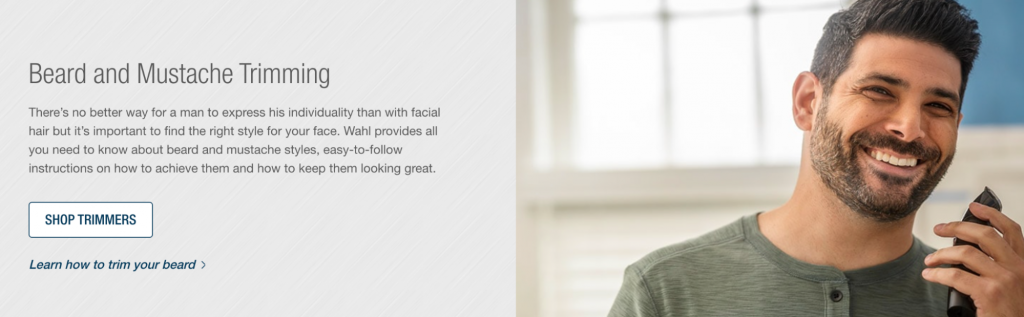 Screenshot from the Wahl website advertising beard and mustache trimming.