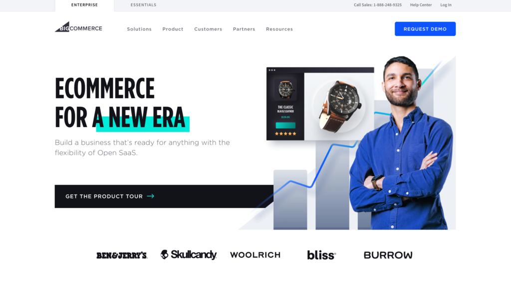 Screenshot of BigCommerce's website.