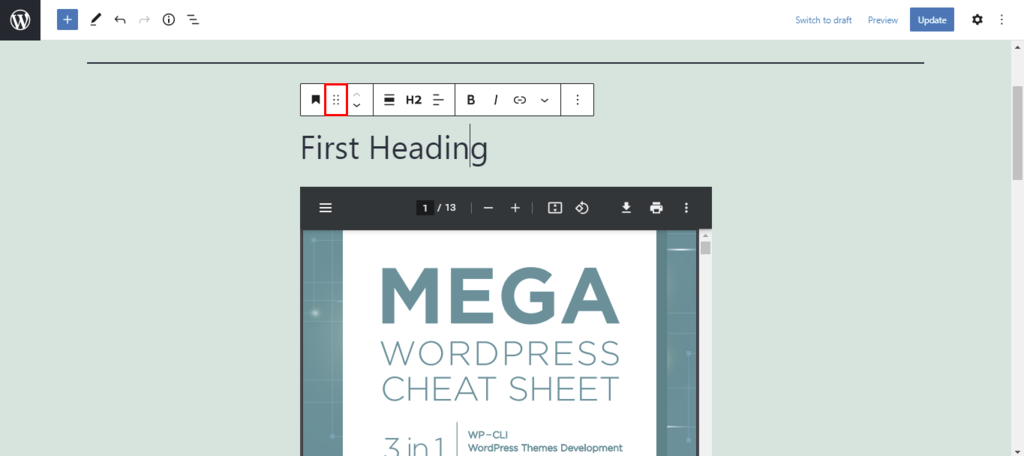 Screenshot showcasing the draggable Block handle button