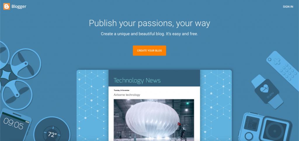 Blogger, the free blogging platform.