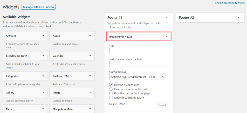 Placing Breadcrumb NavXT in footer