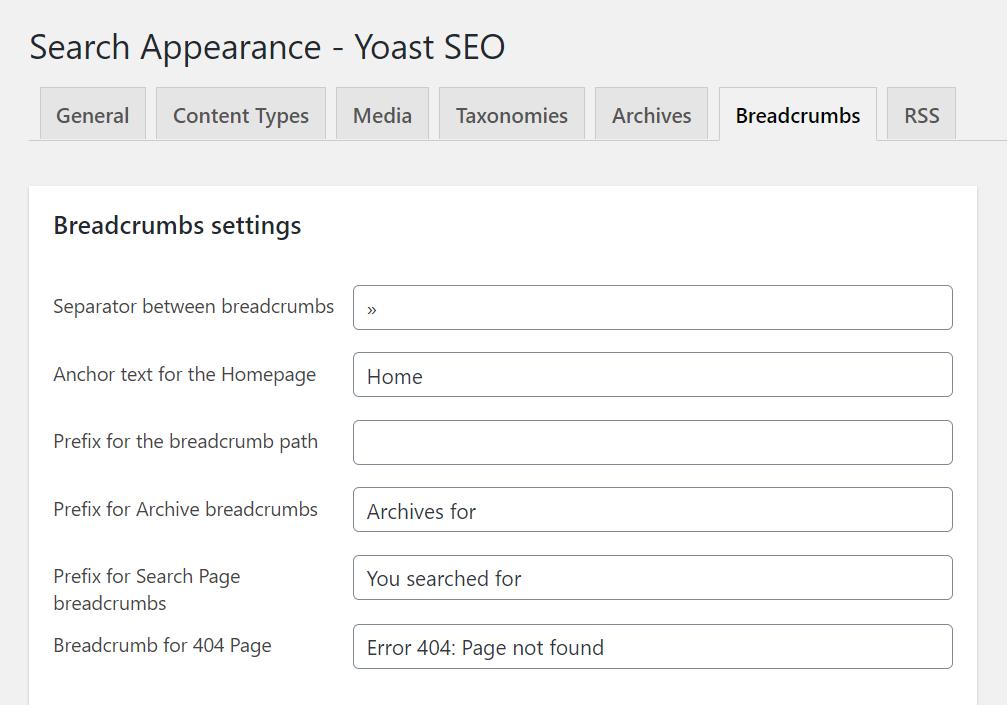 Search appearance settings in Yoast SEO for breadcrumbs