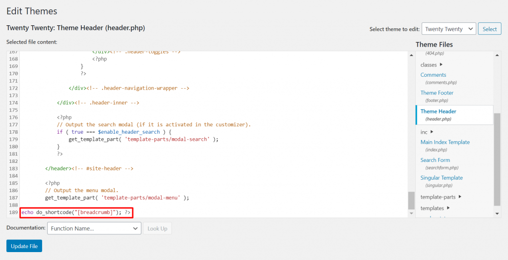 Inserting breadcrumb shortcode in code editor