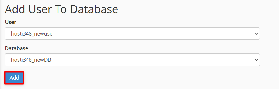 cPanel window showing how to add created users to the database
