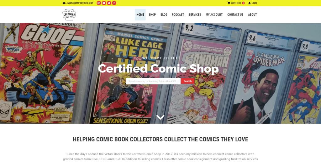Certified Comic Shop website