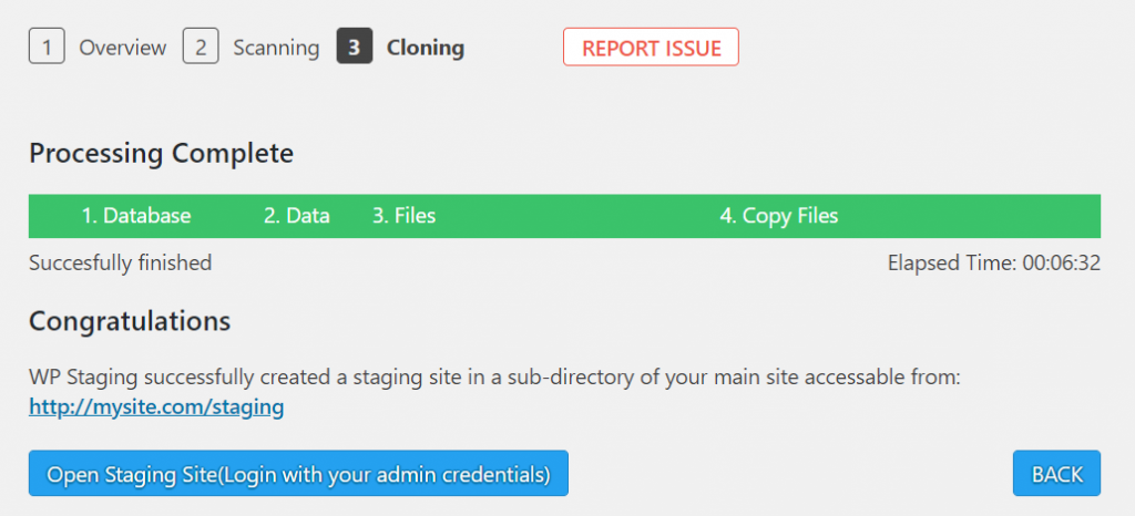 WP Staging's cloning process