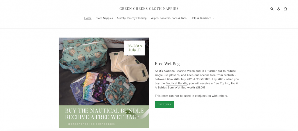 Screenshot from the Green Cheeks Cloth Nappies website showing some cloth diapers and where to buy them.