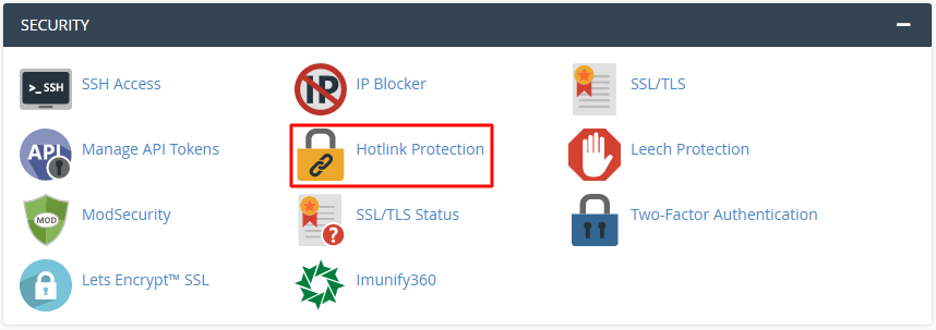 Security section in cPanel highlighting the hotlink protection menu