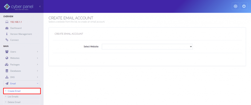 A screenshot showing how to create email in the Cyberpanel dashboard