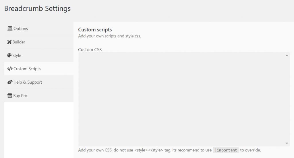 Custom CSS in breadcrumb settings