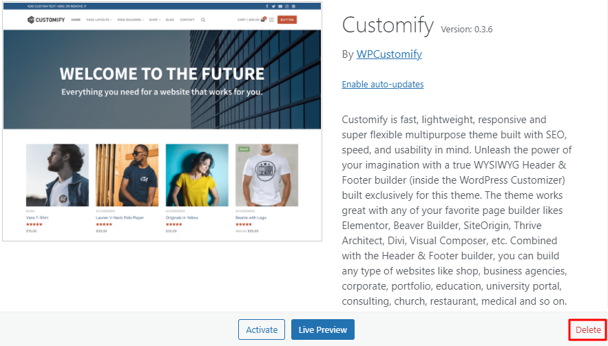 A screenshot showing how to delete a WordPress theme
