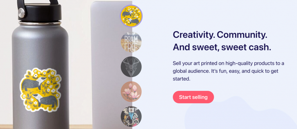 Screenshot from the Redbubble website showing an example of customised apparel.