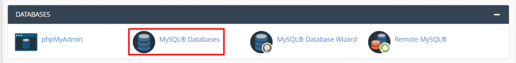 A window of databases directing to choose MySQL databases