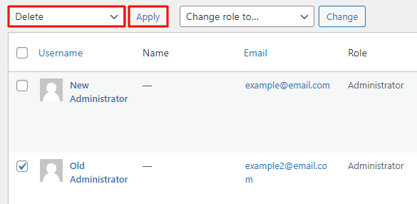 A window showing how to apply bulk delete action when deleting admin accounts in the WordPress dashboard
