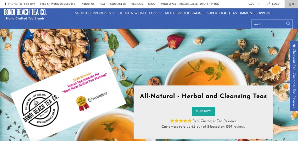 Screenshot advertising detox tea and where to buy it.