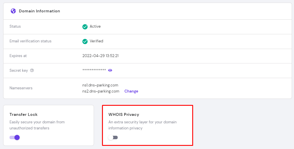 A domain name information panel where you can activate WHOIS privacy option