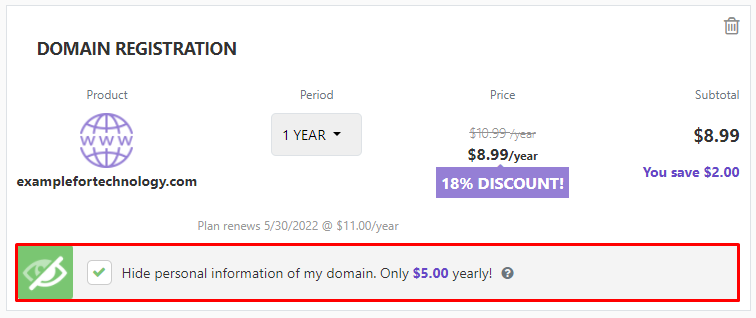 A window of domain name registration where you can hide personal information of your domain