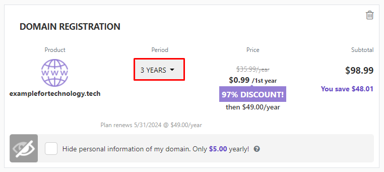 Domain registration tab showing the discount you get for registering the domain name for three years