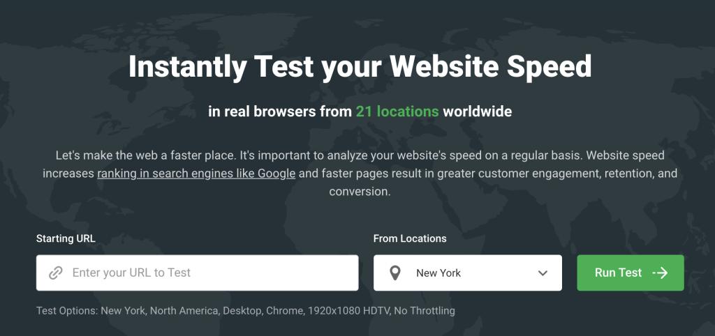 Dotcom-Monitor website speed test tool