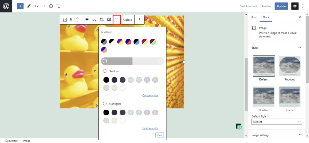Screenshot showcasing the Duotone filter
