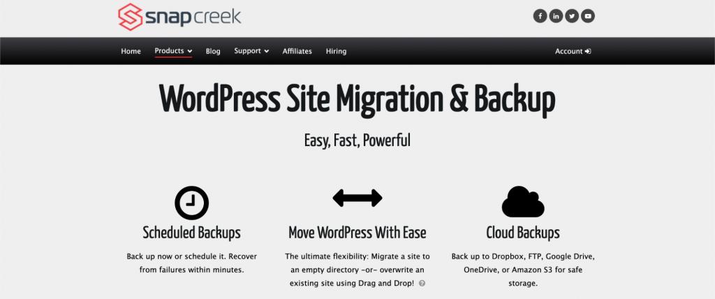 Duplicator site migration and backup plugin for WordPress.