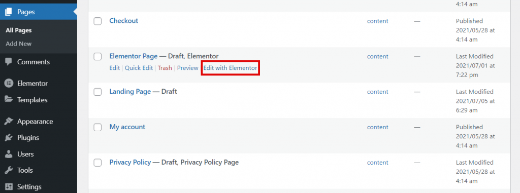 Pages section, highlighting the Edit with Elementor button.