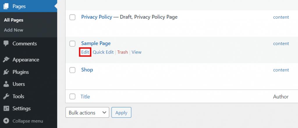 WordPress dashboard, highlighting the Edit post button.