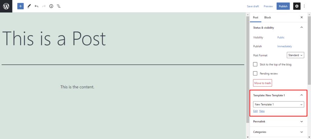 Screenshot highlighting the New Template option in WordPress editor