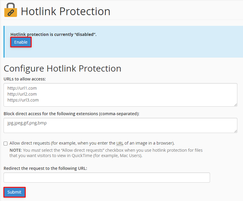 Hotlink protection section in cPanel