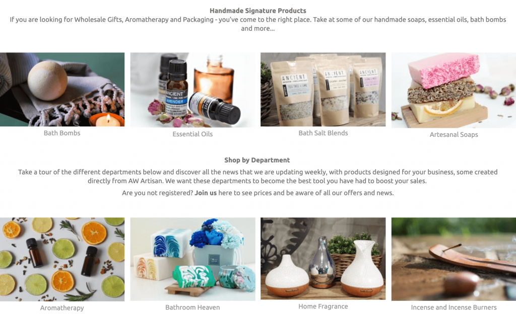 Screenshot showing essential oils and other related products.