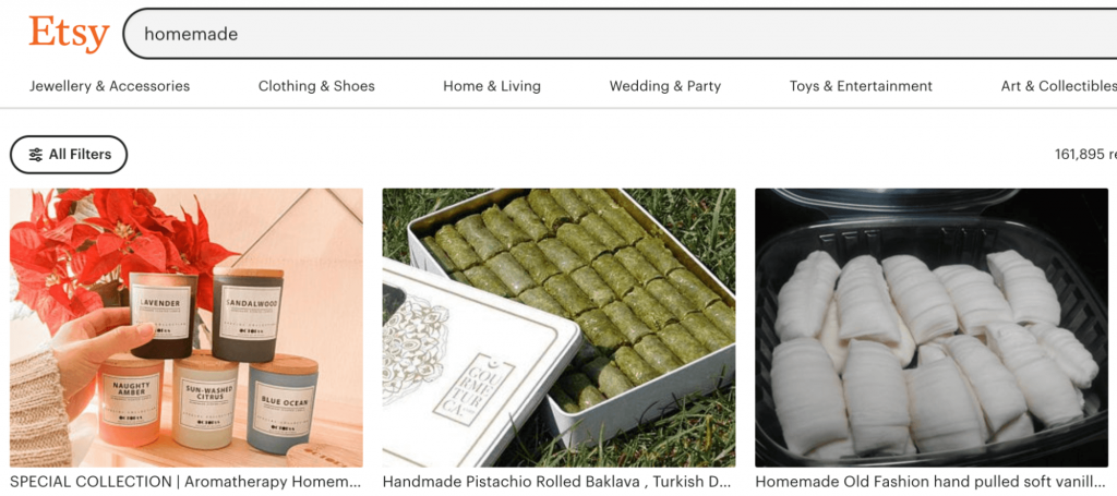Screenshot from the Etsy website showing examples of homemade items.
