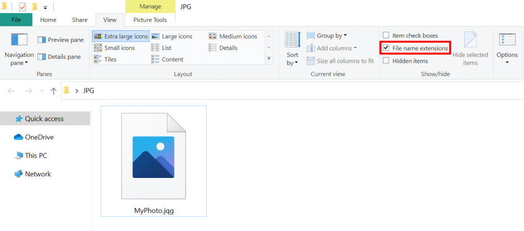 Window showing an incorrect file name extension - .jpq instead of .jpg.