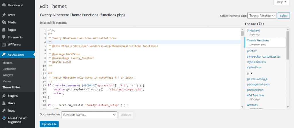 A screenshot showing how to edit theme in WordPress