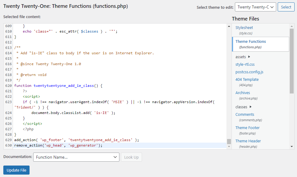 Screenshot of the functions.php file showing where to insert the code.