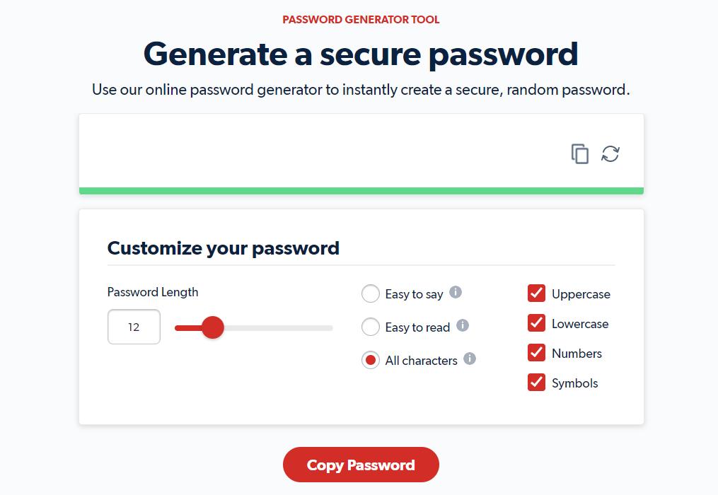 Password generator tool
