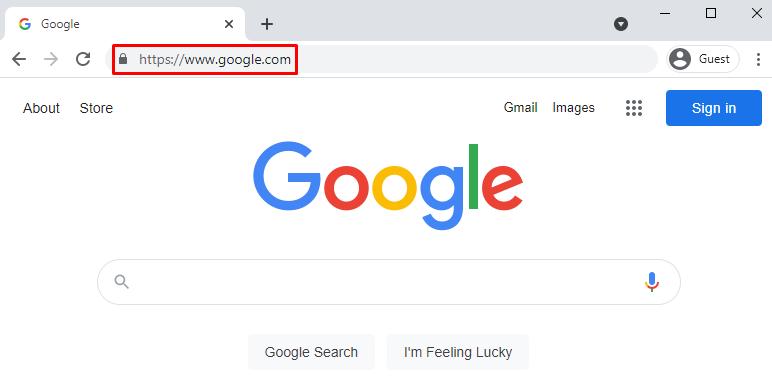 A browser highlighting Google's URL