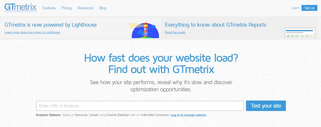 GTmetrix's homepage