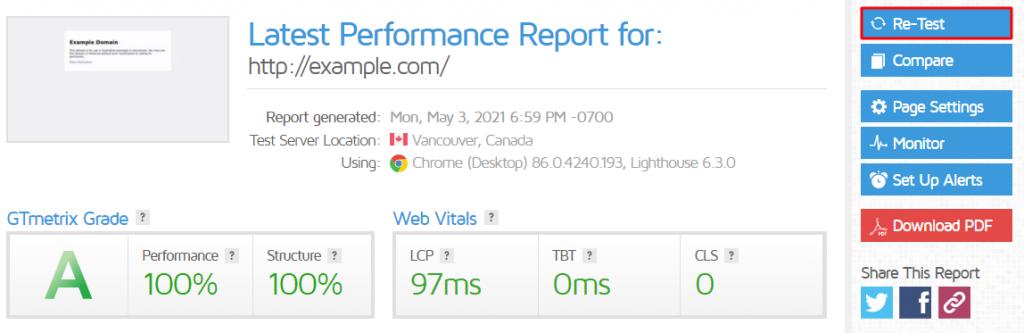 GTmetrix report, highlighting the Re-Test button