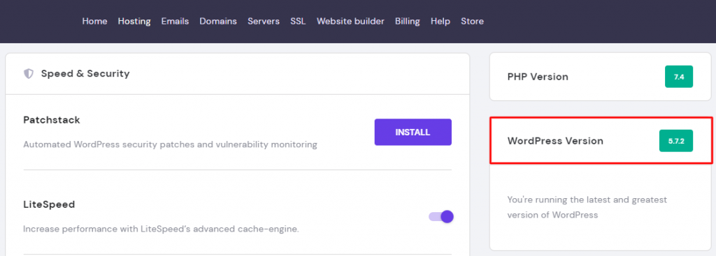 Screenshot of hPanel showing where to find the information on the current WordPress version