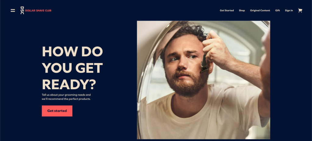 Screenshot from the Dollar Shave Club website showing a shaving man.