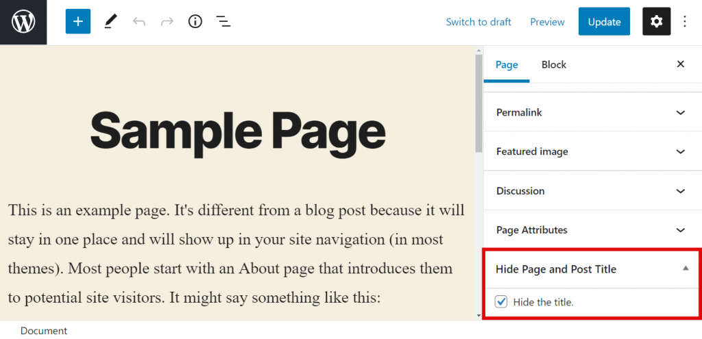 Hide Page and Post Title checkbox,