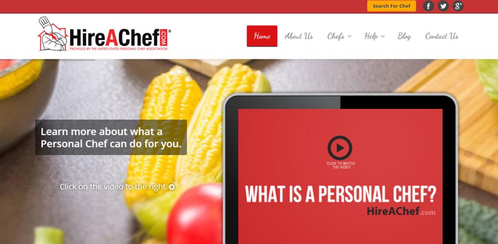 HireAChef homepage